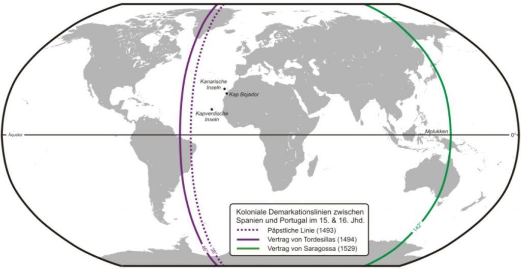 Lijn van het verdrag van Tordesillas in het paars en die van het verdrag van Zaragoza in het groen. (wiki)