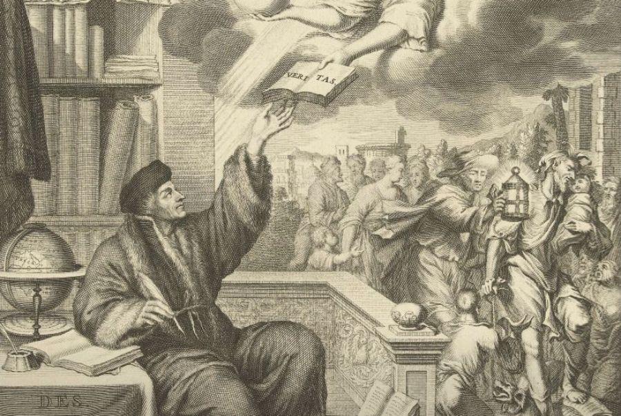 Desiderius Erasmus ontvangt het boek der waarheid, Jacobus Baptist, naar Hillebrand van der Aa, naar Willem van Mieris, 1703 - 1706 (Rijksmuseum Amsterdam, detail)