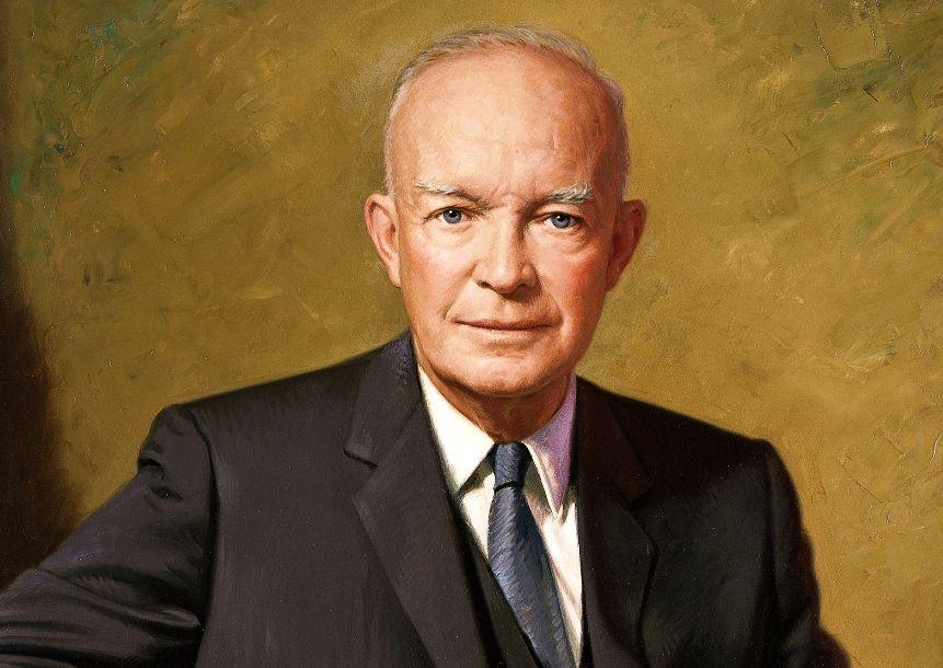 Officieel portret van president Dwight D. Eisenhower tijdens zijn presidentschap van de VS (1953-1961)