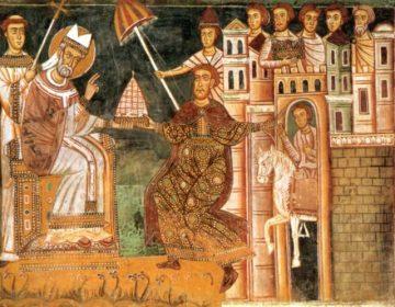 Donatio Constantini - Paus Silvester I en keizer Constantijn