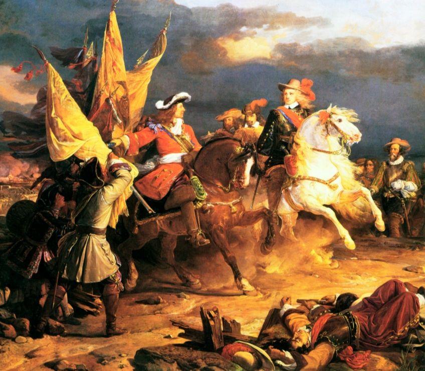Filips V van Spanje (rechts) tijdens de slag bij Villaviciosa