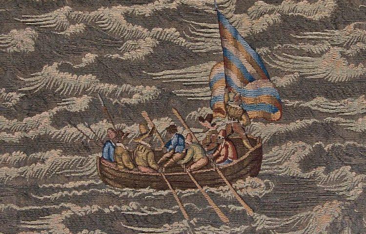 Watergeuzen in een sloep bij de Slag bij Lillo op een 16e-eeuws wandtapijt (cc - Mischa de Muynck)