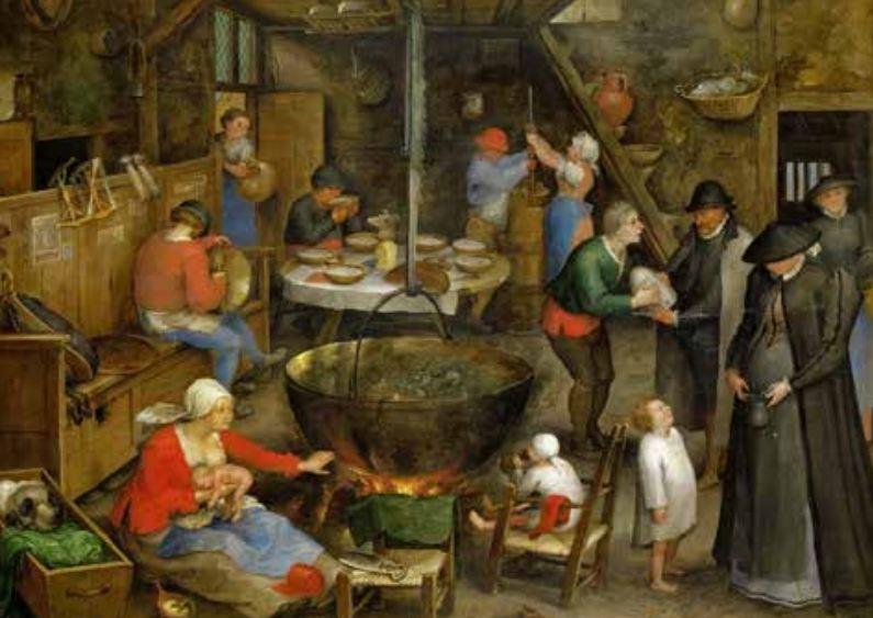 Een landheer brengt een bezoek aan een boerenfamilie. In een grote pan pruttelt soep, waaruit telkens wordt opgeschept en die weer wordt aangevuld met vlees, groenten, enz. Schilderij van Jan Brueghel de Oude. (Kunsthistorisch Museum, Wenen)
