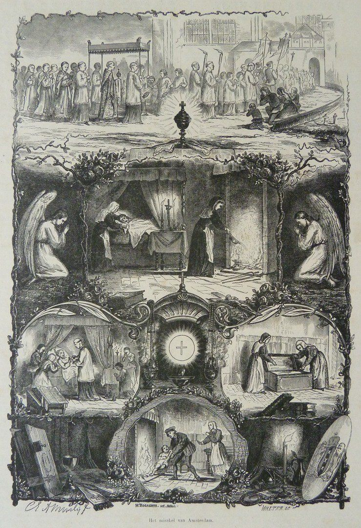 Mirakel van Amsterdam, gravure van J.Walter