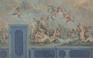 Ontwerp voor een beschilderd behangsel met Neptunes en zijn gevolg uit 1751, door Rienk Keyert uit Leeuwarden. (Rijksmuseum Amsterdam)