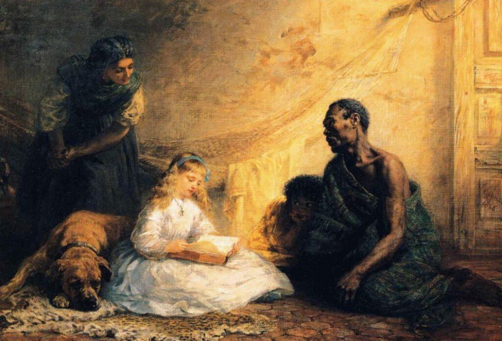 Uncle Tom and Little Eva - Schilderij van Edwin Longsden Long (1866)