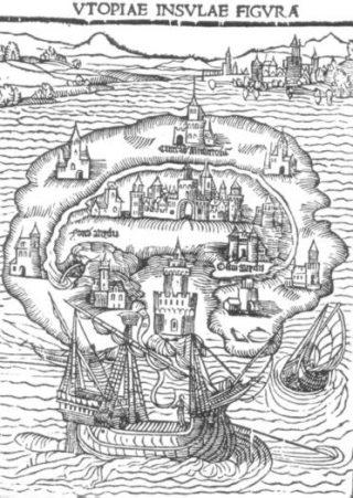 Afbeelding van Utopia in een vroege uitgave van het werk