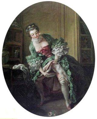 François Boucher schilderde ca. 1760 het gebruik van een bourdaloue. (particuliere collectie)
