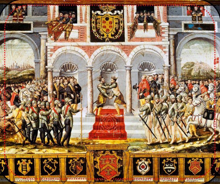 De vrede van Cateau-Cambrésis of de symbolische verzoening tussen Frankrijk en Spanje (Palazzo Pubblico (Siena)).