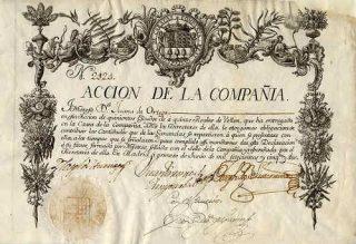 Een aandeel in de Compañía de Guipuzcoana uit 1752