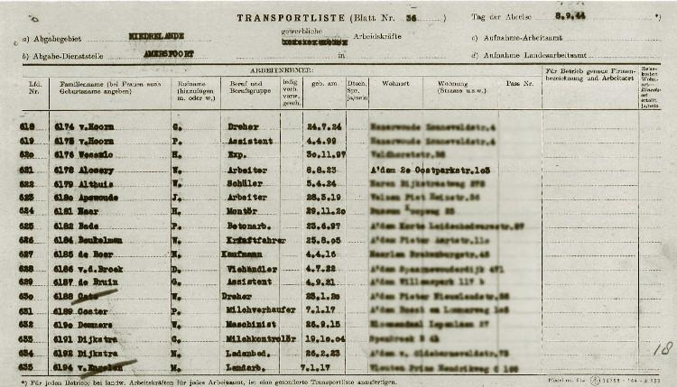 Amersfoort Transportlijst Neuengamme 08-09-1944. Bron: De laatste getuige