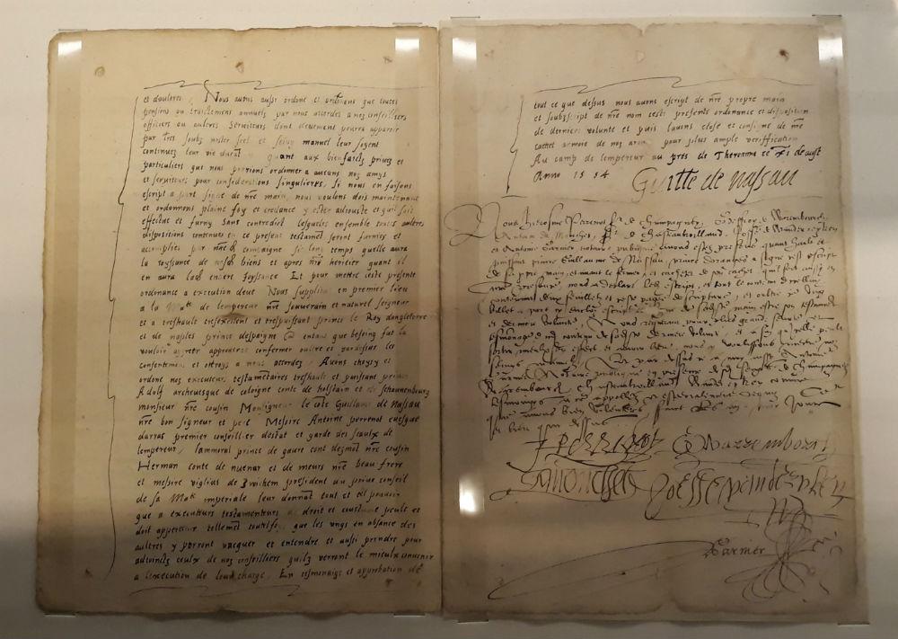 Krijgstestament van Willem van Oranje (1554) uit de Koninklijke Verzamelingen in Den Haag (Historiek)