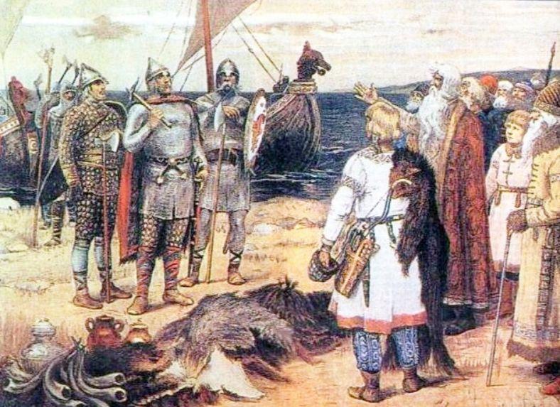 Rurik en zijn broers komen aan bij Ladoga (wiki - Apollinary Vasnetsov)