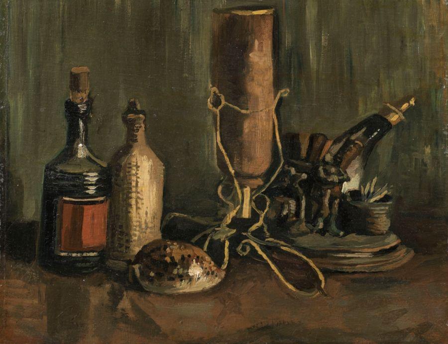 Stilleven met flessen en schelp - Vincent van Gogh
