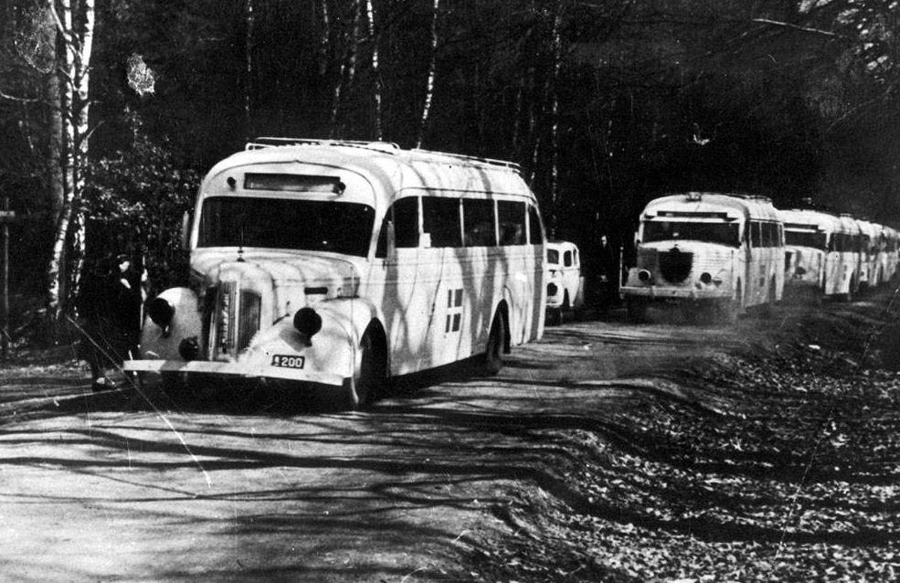 De witte bussen bij Slot Friedrichsruh (Rode Kruis Zweden)