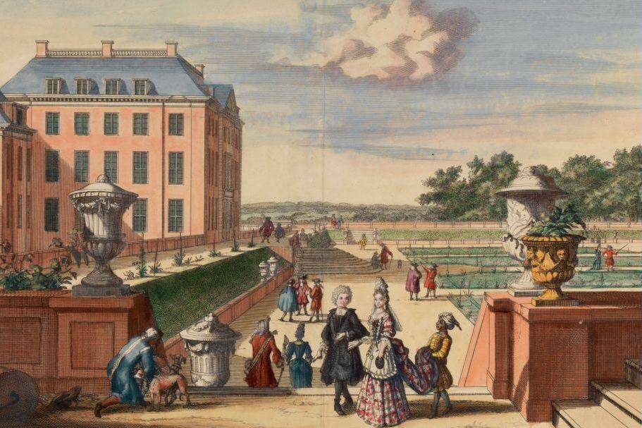 Uitzicht vanaf het verhoogde talud op de Benedentuin. De symboliek van de tuin was voor zeventiende-eeuwse bezoekers van de tuin meteen duidelijk: de tuin was het symbool voor de macht en wijsheid van koning-stadhouder Willem III. (Afb: Tuinen van Paleis Het Loo)