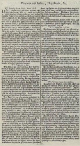 'Courante uyt Italien ende Duytschland';  de oudste krant van Nederland (1632) Collectie KB