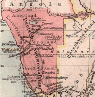 Kaart van Duits Zuidwest-Afrika, 1904