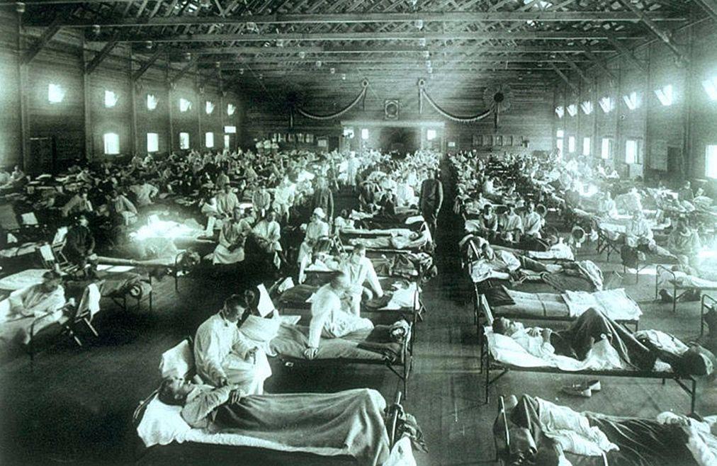 Militair hospitaal tijdens de Spaanse griep (cc - US National Museum of Health and Medicine)