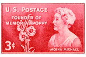 Postzegel ter ere van Moina Michael