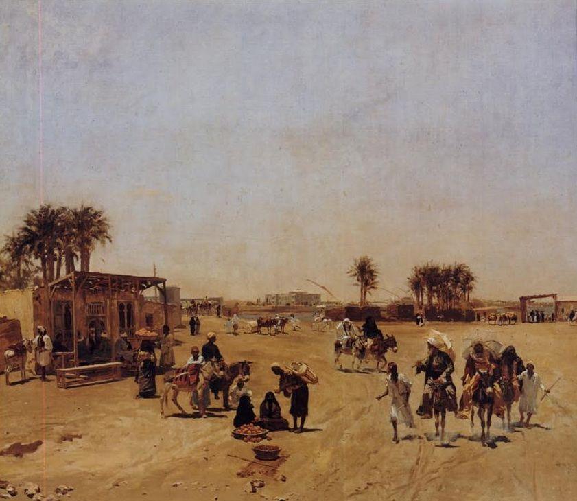 Caïro bij de brug van Kasr-el-Nil, 1880. Voorstudie van Wauters