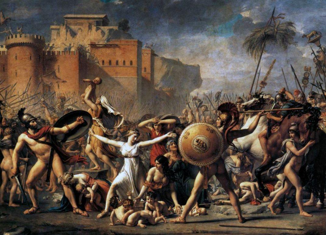 De Sabijnse vrouwen tussen de strijdende partijen (Jacques-Louis David; 18e eeuw)