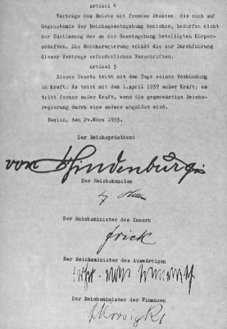 Ondertekening van de Machtigingswet