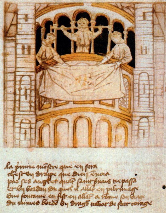 Toning van de pelgrimsstaf van Sint-Servaas en een van de 'hemelse doeken' vanaf de dwerggalerij van de Sint-Servaaskerk (Blokboek van Sint-Servaas, ca. 1460) - cc/Kleon3