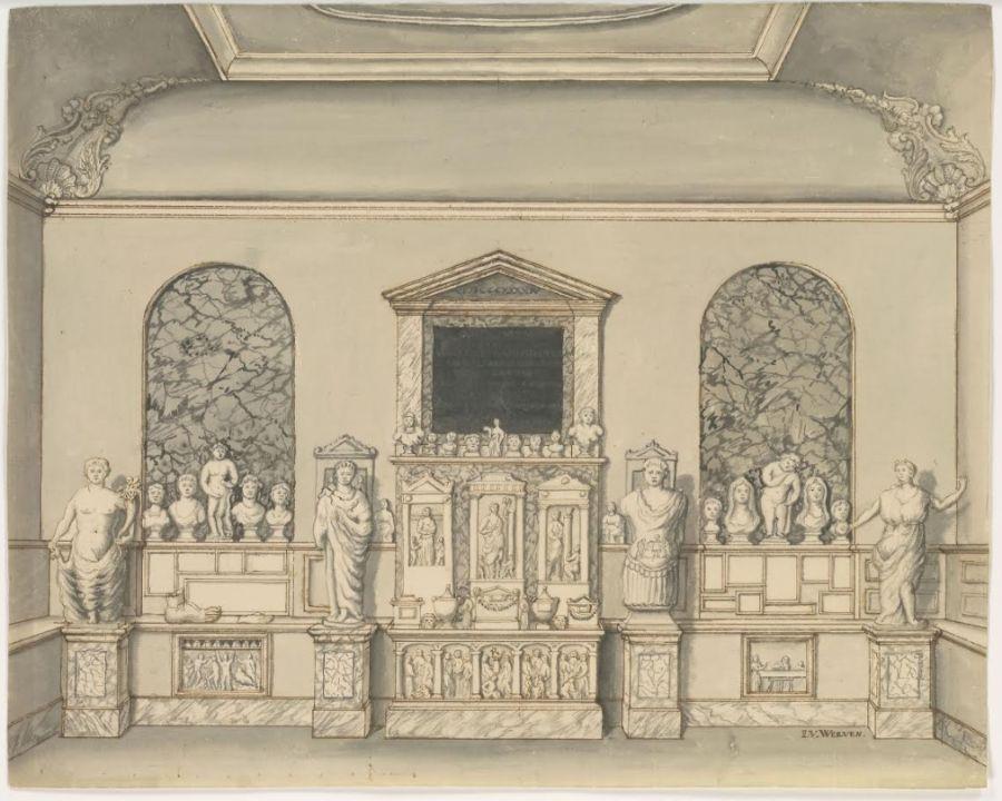 De eerste beelden uit de collectie van Papenbroek van 1745, waarmee het 'archaeologisch cabinet' van start kon gaan.