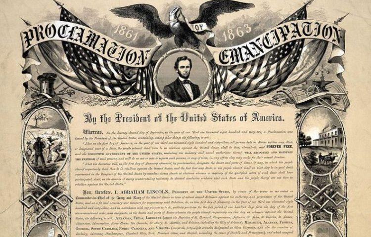 Reproductie van de Emancipatieproclamatie