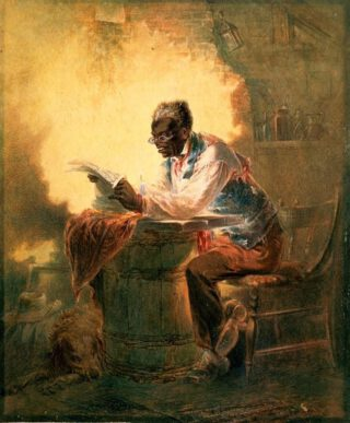 Een zwarte man leest een krant waarin melding wordt gemaakt van de Emancipatieproclamatie - Henry Lewis Stephens