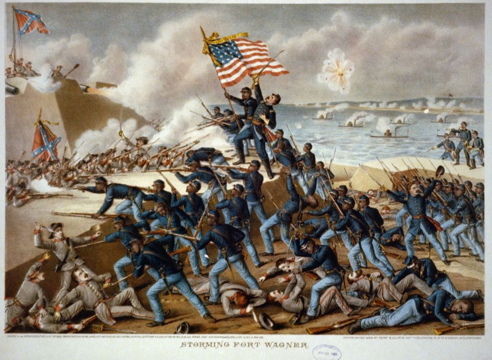 54th Massachusetts Infantry Regiment tijdens de bestorming van Fort Wagner, 18 juli 1863
