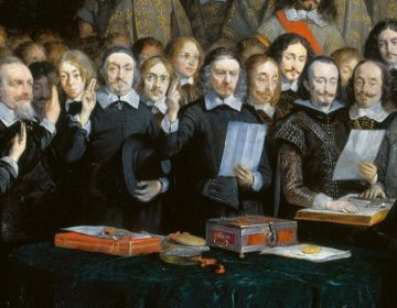 Ratificatie van de Vrede van Münster door Spaanse en Nederlandse onderhandelaars (Gerard ter Borch, 1648)