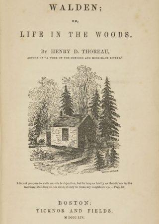 Titelpagina van 'Walden, or Life in the Woods'  (1854).