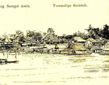 Djambi gezien vanaf de rivier, tekening door luitenant W.J. Cohan Stuart (Wikimedea Commons)