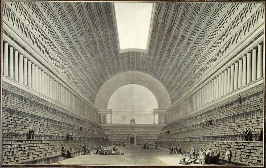 Megalomaan ontwerp voor een bibliotheek door Étienne-Louis Boullée (1785)