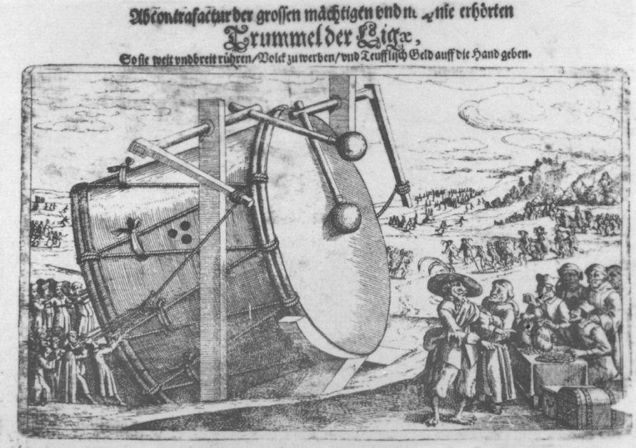 De Katholieke Liga slaat de oorlogstrom met Satan zelf als bevelhebber. De illustratie is een typerend voorbeeld van de propagandabeelden die door protestanten in het zeventiende-eeuwse Duitsland werden gemaakt. Anoniem pamflet uit die tijd.