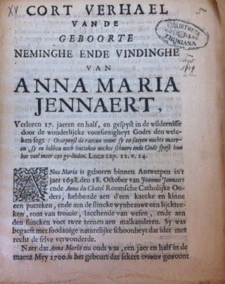 """Titelpagina van het omstreeks 1718 uitgegeven pamflet met de geschiedenis van """"het meisje van Overijssel"""""""