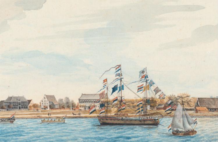 Detail uit 'Gezicht op Paramaribo en Fort Zeelandia' (1772)