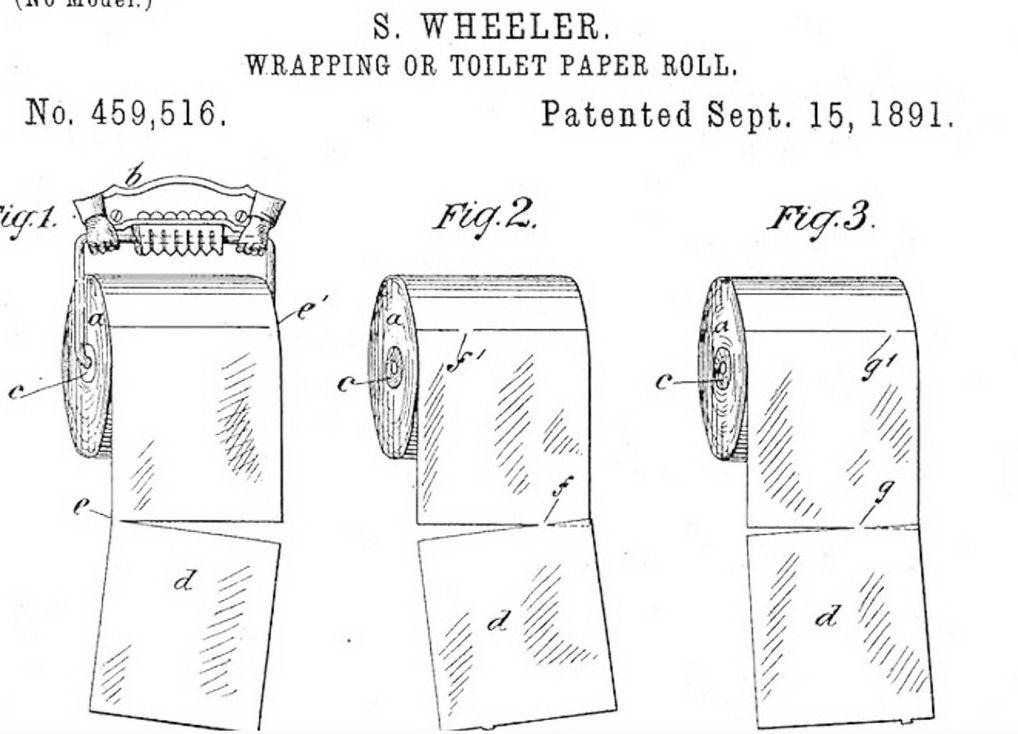 Patent op het toiletpapier van Seth Wheeler uit 1891