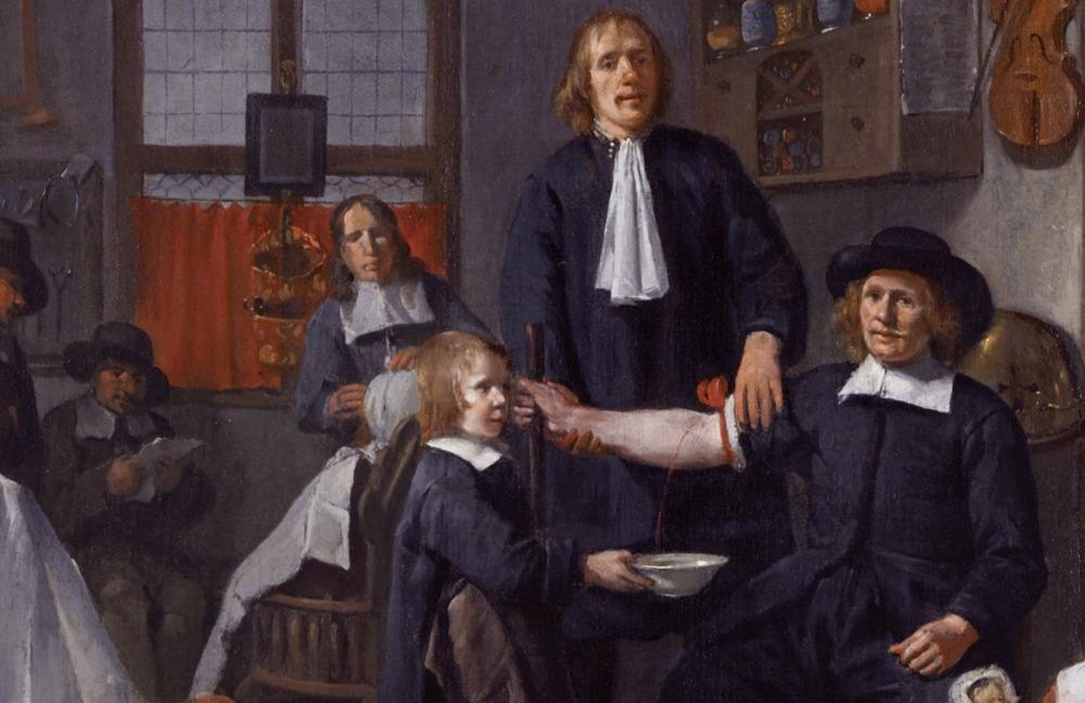 Barbier tijdens een aderlating - Detail van een schilderij van Egbert van Heemskerck, 1669