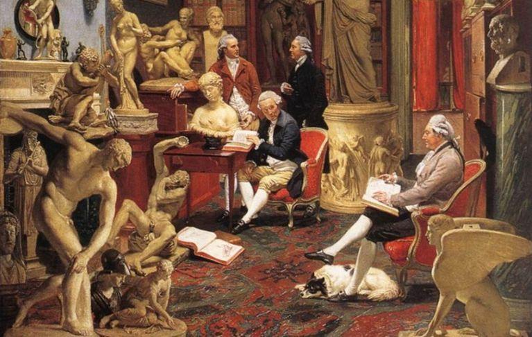 Charles Townley met zijn beeldenverzameling - Johann Zoffan, 1782 (wiki)