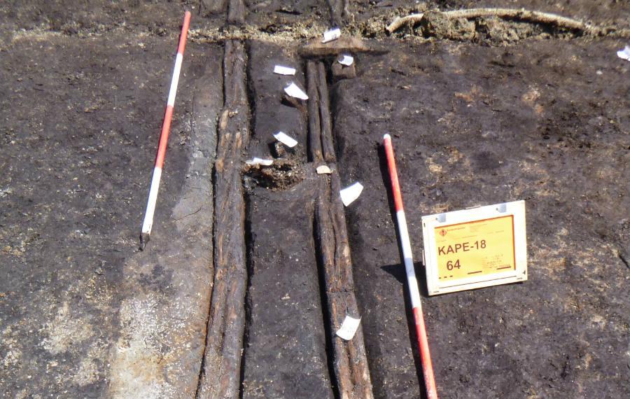 Deel van de gevonden constructie (ADC Archeoprojecten)