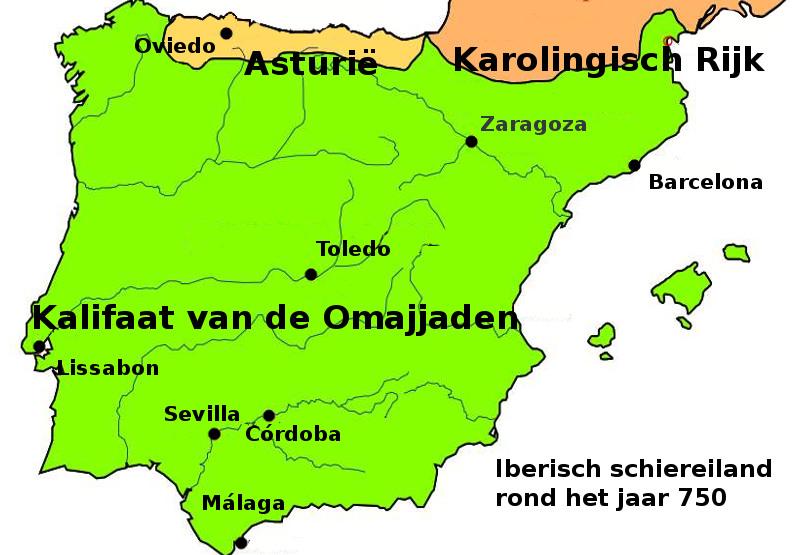 Het Iberisch Schiereiland rond 750