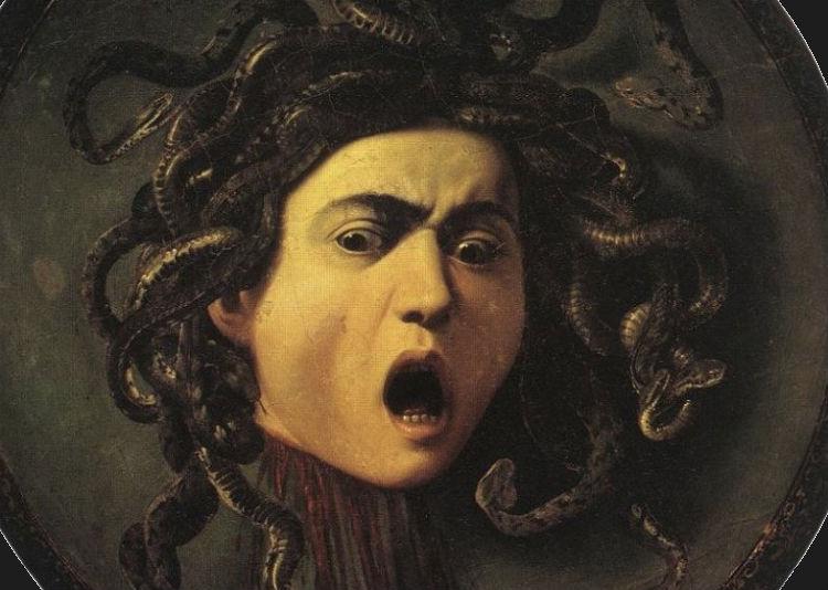Medusa volgens Caravaggio. 1592-1600. Uffizi, Florence.