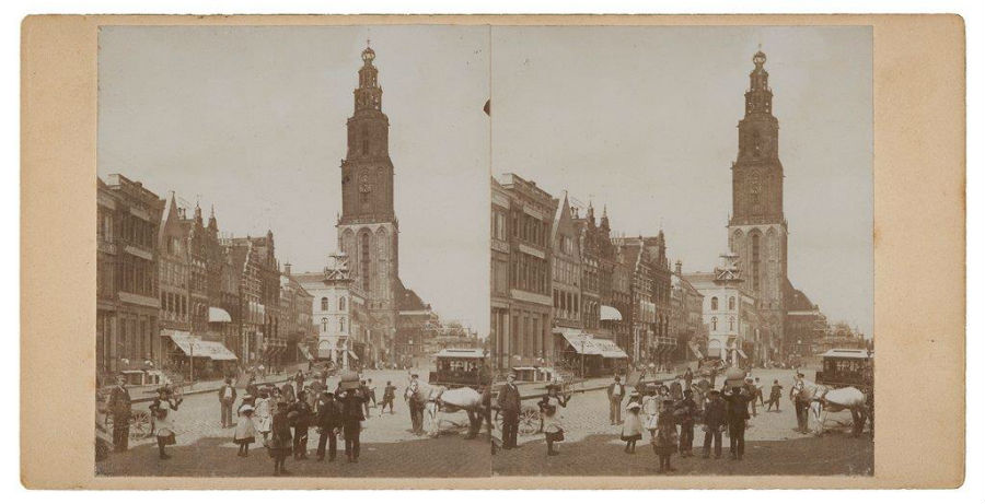 Stereofoto Grote Markt noordzijde, 1898 - Fotograaf onbekend, Groninger Archieven