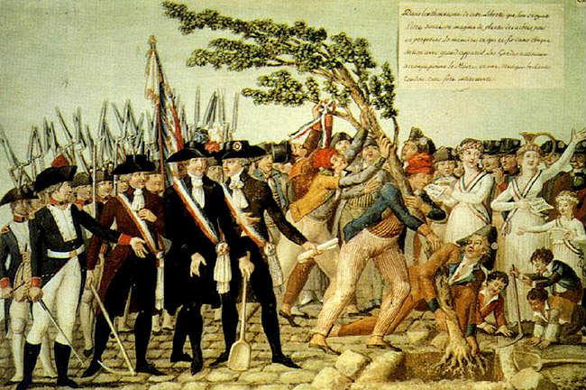 Een vrijheidsboom wordt geplant in Frankrijk, 1790 -