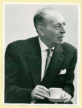 Johan van Veen bij het afscheid van Rijkswaterstaat in 1958 (Hans Middendorp / familiearchief Van Veen)