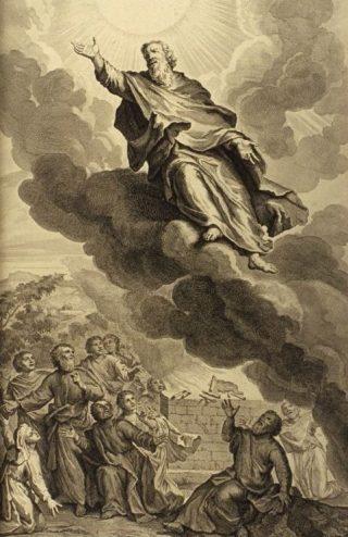Illustratie van Henoch die ten hemel vaart uit Figures de la Bible (1728) - Gerard Hoet, wiki