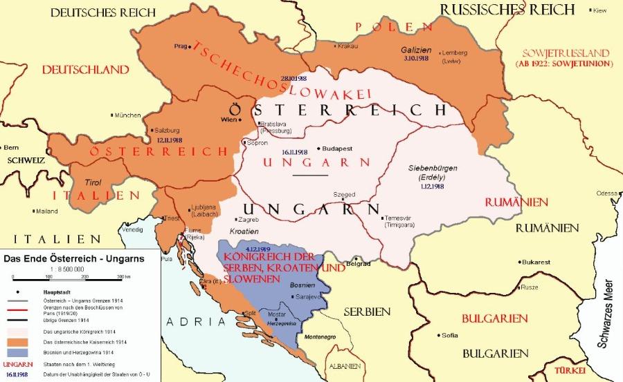 Na de Eerste Wereldoorlog werd het grondgebied van Oostenrijk-Hongarije opgesplitst in een tiental deels nieuwe staten. Veel etnische Hongaren raakten hun 'moederland' kwijt. (cc - wiki)
